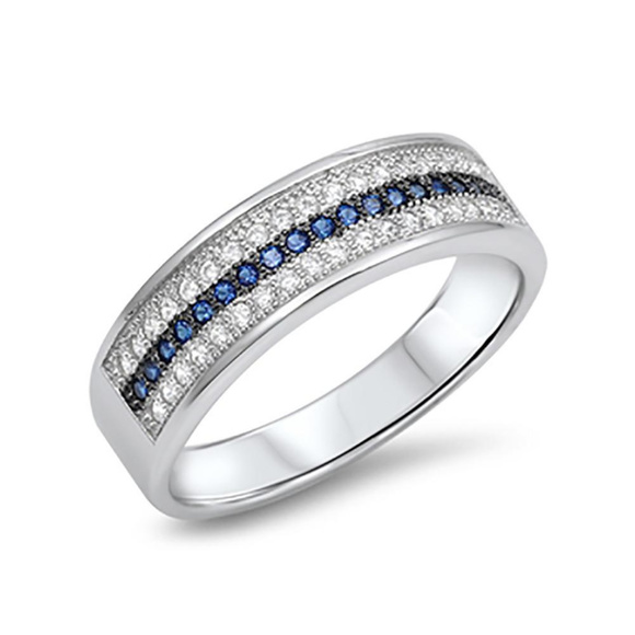 wedding band ring simulated blue sapphire round cz - The One Ring Wedding Band